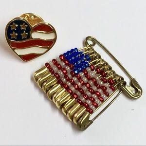 2 vintage patriotic American lapel pins tie tacks